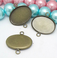 Wholesale 100PCS mm Oval cabochon bezel setting Pendant Blank Base Tray with double hoop ANTIQUE BRONZE Jewelry accessories