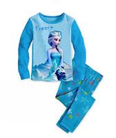 Cheap 6 Sets lot Baby Girls Summer Clothing sets Fashion Girl's suit sets Frozen Princess Elsa&Anna pajamas Sets T-Shirt+ pants