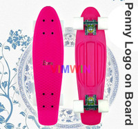 Cheap 22 inch Original Penny Logo on board Plastic Skateboard Penny Nickel Penny Board Pink Decks with White Wheels
