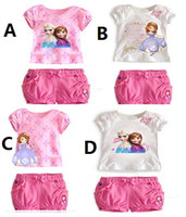 Wholesale Ice snow princess Two piece frozen elsa Anna Sofia children sets T Shirt shorts Kids Clothing white pink girl clothes sets