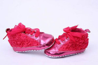 Cheap 5pairs Free Shipping Rose Red 3sizes Lace Rose Flower Charms First Walker Baby Shoes Infant Girls Fashion Bows DMP
