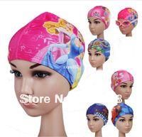 Wholesale 1pcs Children s cartoon ear cap senior Lycra swimming cap cute cartoon boys and girls swimming equipment