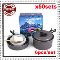 Wholesale sets New Portable Aluminum Mess Kit Camping Pan Set Outdoor Cookware Drinking Cup Cooking Pan people