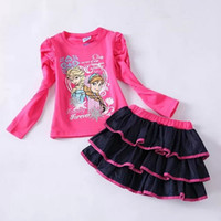 Wholesale Direct Line Cartoon Frozen ANNA ELSA Set Princess Girl Girls Kids Long Sleeve T Shirt Top Skirt Summer Outfit Clothing Suits