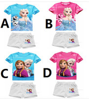 Wholesale 5sets summer Princess two piece with short sleeves pure cotton T shirt shorts suit gift frozen elsa Anna DROP SHIPPING