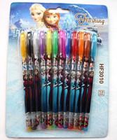 Wholesale Hot sale set Froze n ballpoint pen Hotsale Frozen princess Color Glitter Pen gel Pen Fruit scents kids gifts