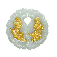 Wholesale K gold jade pendant A cargo emeralds Dragon and Phoenix pair charms auspicious for a newly married couple