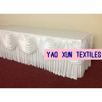 Wholesale White Color Ice Silk Table Skirt With Swags For Wedding Decoration cm m