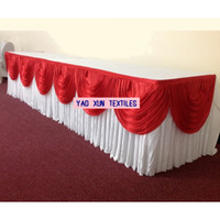 Wholesale White Color Ice Silk Table Skirt With Red Swags For Wedding Decoration cm m