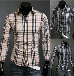 Wholesale NEW Men s Slim shirt Men s casual long Sleeve plaid pattern Shirts Dress Shirts Business Shirts