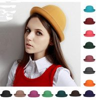 Wholesale High Quality Ladies Wool Felt Fedora Hat Round Top Crushable Wool Derby Bowler Hat