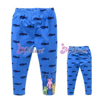 Cheap 1108695341 Wholesale 1 lot = 5 Kids children new 2014 baby spring autumn girl cats fish blue printed cotton leggings Free Shipping DHL