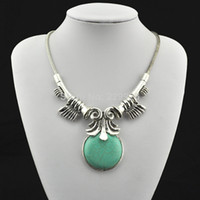 Wholesale Mini order Vintage Look Tibetan Silver Alloy Antique craft owl sea sleeve round bead Pendant Turquoise Necklace RD063