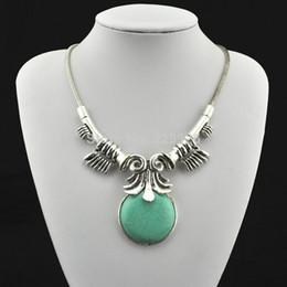 Wholesale Mini order Vintage Look Tibetan Silver Alloy Antique craft owl sea sleeve round bead Pendant Turquoise Necklace RD063