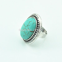 antique look rings - Turquoise bead not plastic or resin Vintage look Antique anitique silver plated Oval Turquoise Adjustable Finger Ring RG822