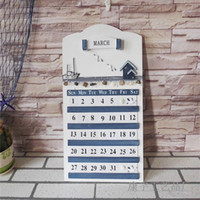 wall board - FashionMediterranean creative home decor wood handmade wooden calendar board marine style living room wall hanging