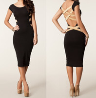 Wholesale S XXL New European Fashion Women Sexy Plus Size Knee Length Criss Cross Back Bodycon Celebrity Party Dress Bandage Dress