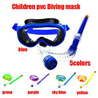 Wholesale 1set new arrival colors Swimming Goggles amp children scuba diving masks and dry snorkel set