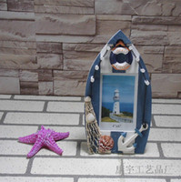 Wholesale FashionMediterranean style wooden ship inch photo frame home decor handmade wood