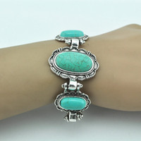 Bangle antique turquoise beads - Turquoise bead not plastic or resin Vintage Look Tibet antique Silver oval Turquoise Cuff Bracelet Bangle jewery BT164
