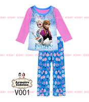 al por mayor niñas pijamas princesa-2014 más nuevas muchachas de la princesa congelados elsa pijamas de los niños del otoño que arropan el sistema largo de la manga Pijamas ocasionales anna
