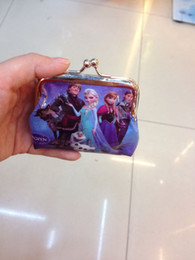 Wholesale 5 styles girls wallet frozen elsa anna printed cartoon children change pocket kids coin purse girl handbag