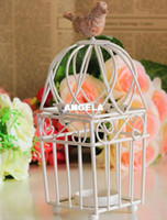 Wholesale Zakka Decorative Metal Bird Cages Candelabra Resin Bird Wrought Iron Candle Holders For Wedding Home Decoration