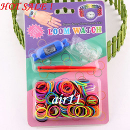 Wholesale Hottest DIY Knitting Braided Loom Watch Rainbow Kit Rubber Loom Bands Self made Silicone Bracelet Watch Rubber Clip Hook