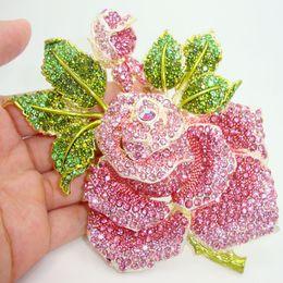 "Wholesale-5""Luxury Holy Rose Green Pink Bud Leaf Crystal Brooch Red Rhinestone Flower"