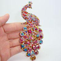 art deco bird - Retro fashion colored Rhinestone crystal bird peacock brooch pin art deco style
