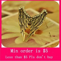 Wholesale Min Order Mix Jewelry order Real New Anniversary Round Classic Vintage Personality Angel s Wing Stretch Adjustable Fashion Ring