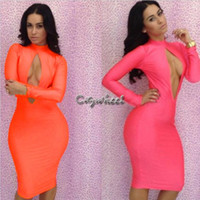 Cheap 2014 New Spring Sexy Women Club Clothing Bandage Dresses Hollow Out Long Sleeve Bodycon Dress Vestidos, S, M, L #2 SV000813