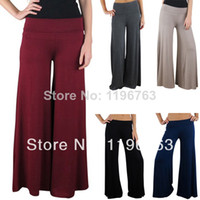 Cheap New Long SLIMMING PANTS Lounge Casual Vertical Palazzo Wide Leg Clothes Flat Front Pants Bottoms Black Blue Brown Wine Red Gray