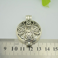 Wholesale 20PCS Photo Frame Locket Pendant Hollow Pattern Round Silver Tone x33mm WITHOUT GLASS