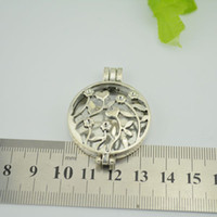 photo glass - 20PCs Photo Frame Locket Pendants Round Hollow Love Flower Silver Tone x33mm WITHOUT GLASS