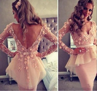 2016 Backless Long Sleeves Evening Gowns Tulle Mermaid Prom ...