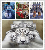 Cheap wholesale 2014 new 3D bed sets animal bedding wolf leopard tiger print full queen super king size bed linen quilt cover sets 7pc