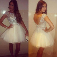 little white dresses - 2014 Sexy Glaring Backless Tulle Mini Cocktail Party Dresses College Graduation Little White Crystals Short Prom Homecoming Gowns Cheap