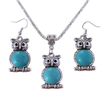 Wholesale Vintage jewelry sets fashion turquoise owl pendant necklace drop earrings girl s fashion