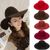 Wholesale High Quality Vintage Retro Wool Felt Ladies Wide Brim Sun Beach Bowknot Fedora Floppy Hats