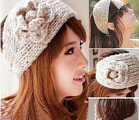 Cheap Winter Wool Headbands For Women Knitted Headband Girl Wide brand Lady Crochet Headwrap With Flower Button hairband Fashion Hair Accessories