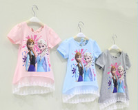 Cheap Summer Frozen Children Clothing Princess Girl Short Sleeve T Shirt Lace Kid's T Shirts 10pcs lot GX415