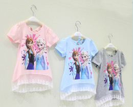 Wholesale Summer Ice Snow Elsa Anna Princess Children Clothing Girl Short Sleeve T Shirt Pure Cotton Lace Kid s T Shirts GX415