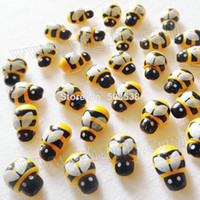 wood bee room - 300PCS Wood mini yellow bee stickers Fly fridge sticker D wall stickers Kindergarden ornament Wood crafts x9mm wall decals onstock