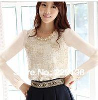 Cheap 2013 dudalina shirt women plus size roupas renda femininas printing lace tops silk embroidered s camisas chiffon blusas