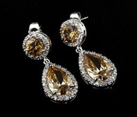 Earrings 14k gold - Zircon Bridal Earrings K Gold Coating High Quality New Arrival B2