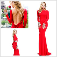 Cheap Popular Recommend Sexy High Neck Prom Dresses Meimaid Backless Tarik Ediz Evening Dress Floor Length Long Sleeves Formal Party Gowns 2014