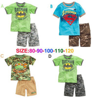 Cheap Free New Arrival Summer boys sets Baby boy's sets Children's clothing superman Modelling pajamas sets shirts +pants 5sets 1lot