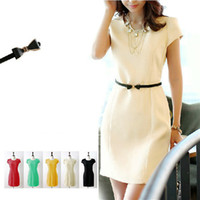 Cheap Women Fit Mini Pencil Shift Dress Lady Office Suit Red Black Beige Yellow Sleeve 3 4XL Dress Round Belted Formal Gown Party Wedding Business