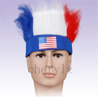 Wholesale Hot Sell Wig Brazil World Cup Crazy Fans Cap Wig Hats Football Match Caps Headband Hairpiece Flags Printed Cheering Squad Wig C1292